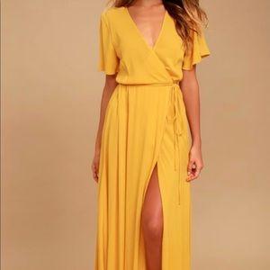 Lulu's Golden Wrap Maxi Dress
